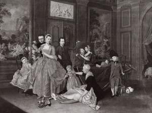 Portret van Hendrik Hoogers (1747-1814) met zijn gezin en Jan Broesterhuijsen (?-1789)