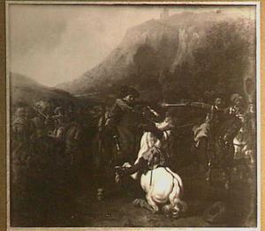 Bergachtig landschap met vechtende soldaten te paard