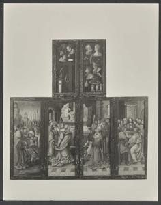 Melchizedek zegent Abraham (buitenzijde linkerluik); De Gregoriusmis (buitenzijde middenluiken); Het Laatste Avondmaal (buitenzijde rechterluik); De Arma Christi (buitenzijde bovenluiken)