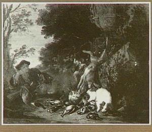 Jager bij jachtbuit van haas en gevogelte in een landschap; rechts een hond