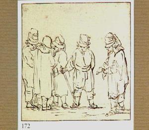 Vijf staande mannen met hoeden