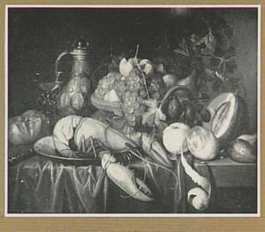 Stilleven van kreeft en vruchten op een tafel