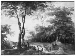 Boslandschap met jagers en soldaten