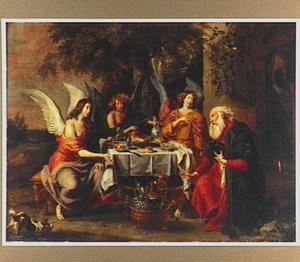 De engelen op bezoek bij Abraham voorzeggen hem wederom de geboorte van een zoon. Sara luistert  stiekem vol ongeloof toe (Genesis 18:8-13)
