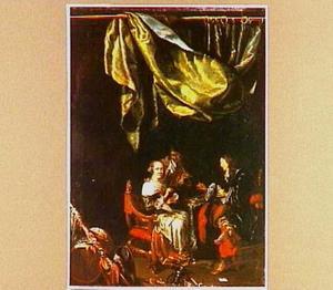 Interieur met vrouw die kaart speelt met twee soldaten