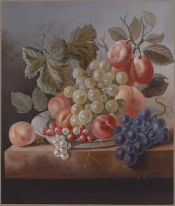 Stilleven van vruchten in een schaal, op een stenen tafelblad