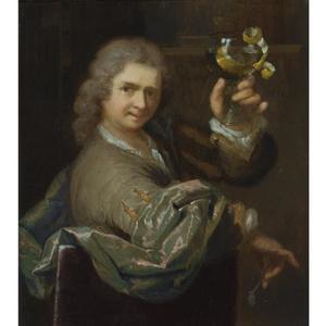 Portret van een man, een pijp en een geschilde citroen in een roemer ophoudend