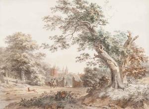 Landschap met ruiters bij een kasteel