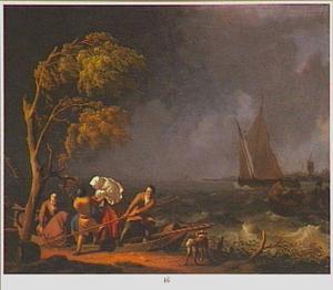 Aanleggen van een roeiboot aan een rivieroever in een zware storm; in de achtergond een zeilboot