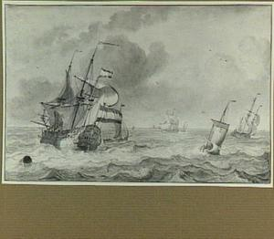 Zeilschepen op woelig water