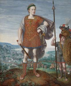 Portret van keizer Matthias (1557-1619) als aartshertog, in de gedaante van P. Cornelius Scipio Major