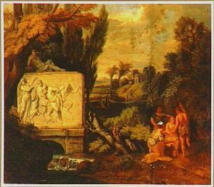 Arcadisch landschap met figuren bij een sarcofaag met daarop een voorstelling van de dronken Silenus