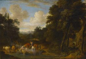 Zuidelijk landschap met een herder en een herderin hun vee drenkend bij een doorwaadbare plaats