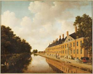 Gezicht op de Prinsessegracht in Den Haag, gezien in de richting van de Bezuidenhoutsebrug; op de voorgrond rechts het Huis aan de Boschkant en links de Koekamp