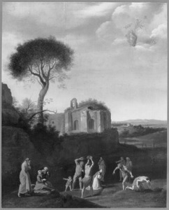 Zuidelijk landschap met de steniging van St. Stephanus  (Handelingen 7:58)
