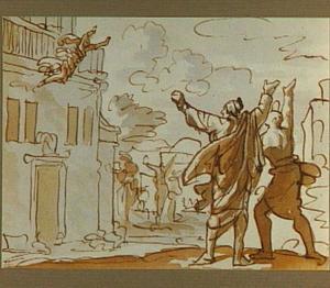 De sprong van Jan van Schaffelaar van de kerktoren in Barneveld op 16 juli 1482