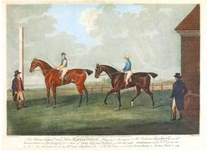 Sir Harry Tempest Vane's Hambletonian vóór de start in de match tegen Mr. Cookson's Diamond op 25 maart 1799