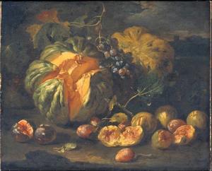 Vruchtenstilleven van meloenen en vijgen