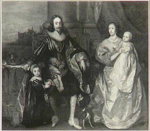 Familieportret van Karel I Stuart (1600-1649), koning van Engelend en Henriëtta Maria de Bourbon, koningin van Engeland (1609-1669) met hun twee oudste kinderen Karel (1630-1685) en Maria (1631-1666), met op de achtergrond de Theems bij Westminster