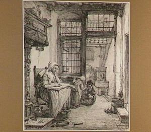 Interieur met lezende vrouw en twee kinderen