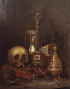 Vanitasstilleven met doodshoofd, zandloper, crucifix en andere voorwerpen