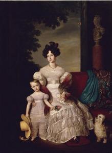 Dubbelportret van koningin Anna Paulowna, grootvorstin van Rusland, als prinses van Oranje (1795-1865) met Sophie van Oranje-Nassau (1824-1897)