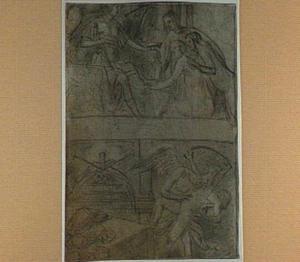 Twee allegorische voorstellingen: de kroning van een vrouw, allegorie van de Tijd