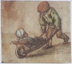 Jongen met kind in een kruiwagen