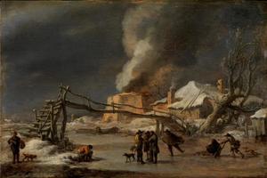Winterlandschap met kalkoven