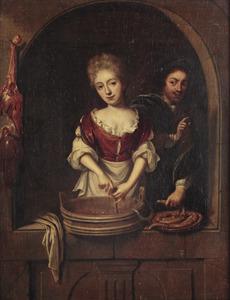 Een jonge vrouw en jonge man bereiden worst