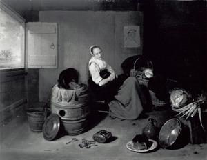 Jonge vrouw gezeten in een interieur bij een wieg