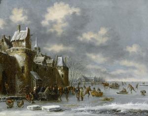Winerlandschap met bevroren meer en ijspret voor een stadsmuur