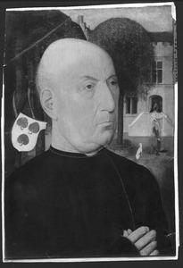 Portret van een man, in de achtergrond de Tiburtijnse Sibille die de komst van Christus aan Keizer Augustus voorspelt