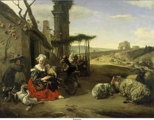Italiaans landschap met herberg en ruïnes