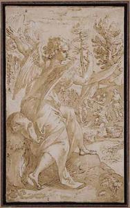 De aartsengel Jophiel, rechts Cham bespot de naaktheid van  Noach