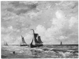 Visserschepen in de branding