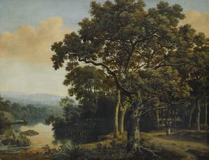Boslandschap met een vrouw en haar kind op een bospad