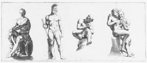 Vier studies naar klassieke beeldhouwwerken: Mars Ludovisi, Spinario, Pan en Apollo
