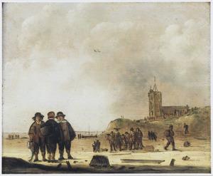 Gezicht op het strand bij Egmond aan Zee
