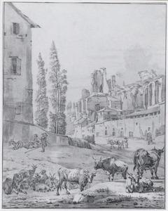 Vee bij de ruïne van het paleis van Septimius Severus in Rome