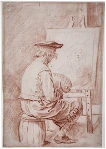 Schilder zittend voor zijn schildersezel