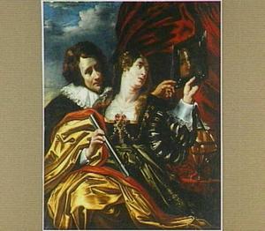 Allegorie op de ijdelheid: een man en een vrouw kijkend in een spiegel