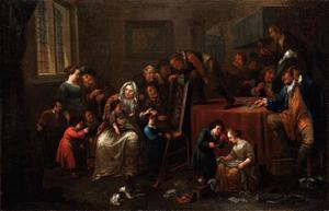 Interieur met vrolijk gezelschap bij een rarekiek en kaartende mannen