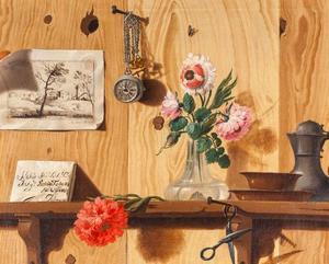 Trompe-l'oeil stilleven tegen een houten wand