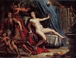 Jozef  vlucht voor de avances van de vrouw van Potifar (Genesis 39)