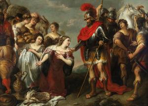 De ontmoeting van David en Abigaïl, die hem mondkost voor zijn leger brengt (1 Samuel 25:23)