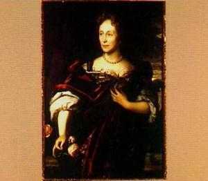 Portret van een vrouw met een roos in haar hand