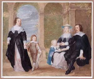 Portret van een onbekende familie in een tuin