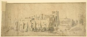 Geizcht op Berkeley Castle vanuit het oosten