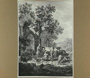 Herders met vee bij een ruïne